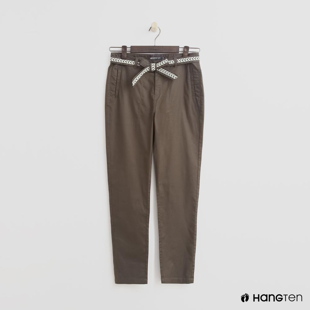 Hang Ten - 女裝 - 腰帶設計修身長褲 - 綠