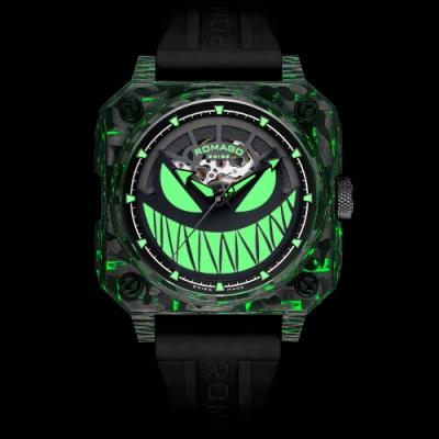 ROMAGO碳纖維馭光者系列 螢光鬼臉設計機械錶-夜光綠/46.5mm RM111-GR