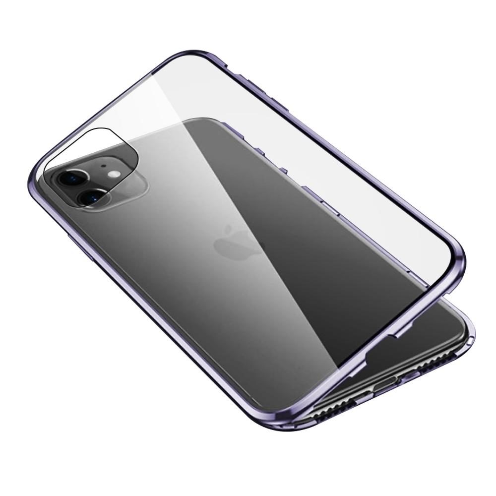 iPhone 11 手機殼 金屬 透明 全包覆 磁吸雙面玻璃殼 紫色 (iPhone11手機殼 iPhone11保護殼 )