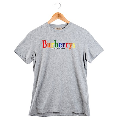 BURBERRY 新款彩虹英文字LOGO棉質T恤 (灰色)