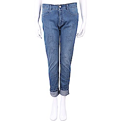 Stella McCartney 星星刷破圖騰反摺丹寧男友褲