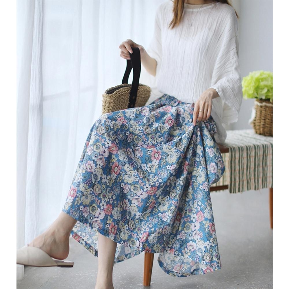 復古碎花棉麻法式氣質高腰顯瘦傘裙三色可選-設計所在