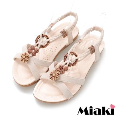 Miaki-涼鞋南洋時尚平底涼拖-米