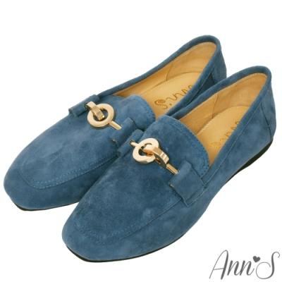 Ann'S爬枕頭山-訂製環扣全真皮懶人舒適平底紳士鞋-藍