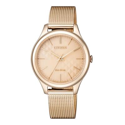 CITIZEN 星辰純淨時光米蘭編織不鏽鋼時尚腕錶-玫瑰金(EM0503-83X)
