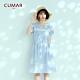 【CUMAR】氣質條紋蕾絲花朵-洋裝(二色/魅力價格) product thumbnail 1