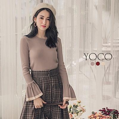 東京著衣-yoco 簡約百搭撞色喇叭袖針織上衣-S.M.L(共三色)