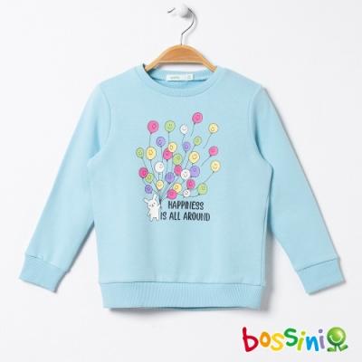 bossini女童-圖案圓領厚棉T恤06粉藍