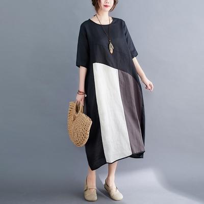 米蘭精品 連身裙短袖洋裝-拼色區塊圓領棉麻女裙子73xz16