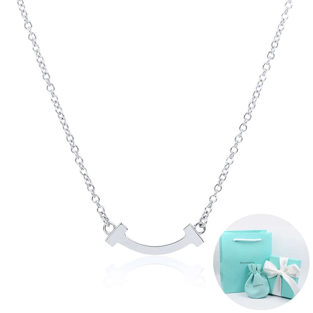Tiffany&Co. T系列 微笑Smile 18K白金項鍊(迷你)