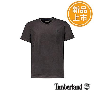 Timberland 男款黑色圓標V領短袖T恤