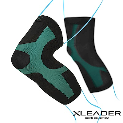LEADER 進化版X型運動壓縮護膝腿套 湖綠色 2只入
