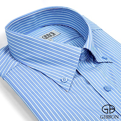 GIBBON 都會紳仕條紋長袖襯衫‧藍色