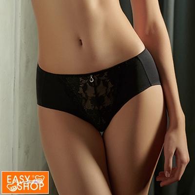 EASY SHOP-大姐姐-大尺碼舒適彈性中腰三角內褲-時尚黑
