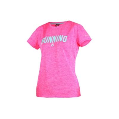 FIRESTAR 女短袖吸排圓領衫-短T T恤 慢跑 路跑 粉紅湖水藍