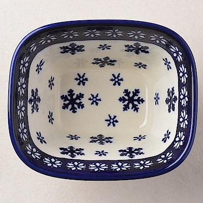 【波蘭陶 Zaklady】波蘭陶 雪白冰花系列 方型烤皿 300ml 波蘭手工製