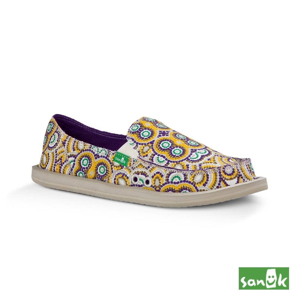 SANUK 女款 US6 孔雀民俗圖騰印花懶人鞋(黃紫色)