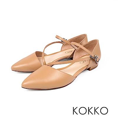 KOKKO -浪漫花都法式細帶尖頭平底鞋-柔瑰杏