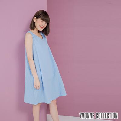 YVONNE雙層紗無袖V領洋裝- 灰藍