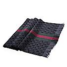 GUCCI 經典GG緹花綠紅綠標誌羊毛混絲雙色流蘇披肩/圍巾(深灰/180X37)