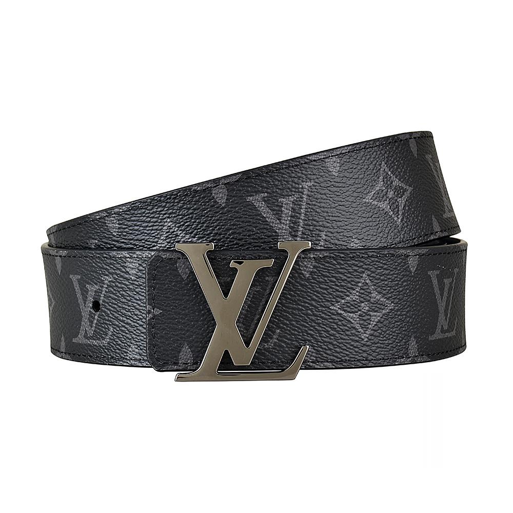LV M9043T INITIALES 花紋LOGO帆布雙面設計扣式皮帶(黑)