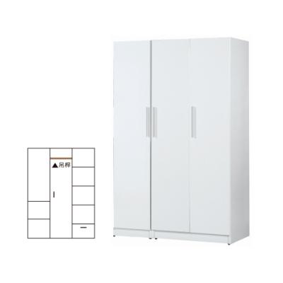 韓菲-白色塑鋼三門衣櫃-122x52.5x192cm