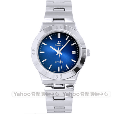 SIGMA簡約藍寶石鏡面時尚手錶-藍X銀/37mm