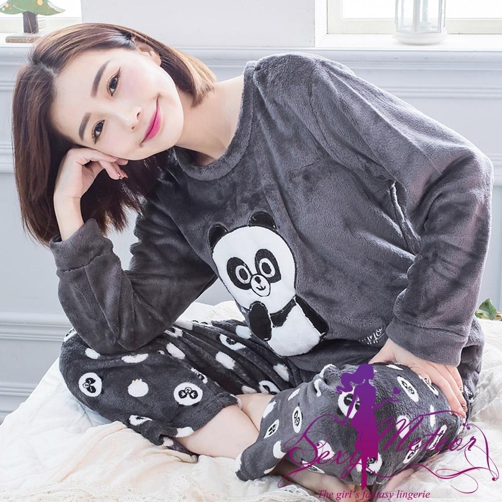 睡衣 全尺碼 熊貓水貂絨長袖二件式睡衣組(俏皮灰) Sexy Meteor