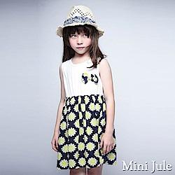 Mini Jule 洋裝 立體蝴蝶結花朵印花裙襬無袖洋裝(深藍)