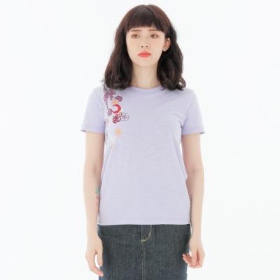 BIG TRAIN 月凰大繡花竹節棉基本女T-女-淺紫