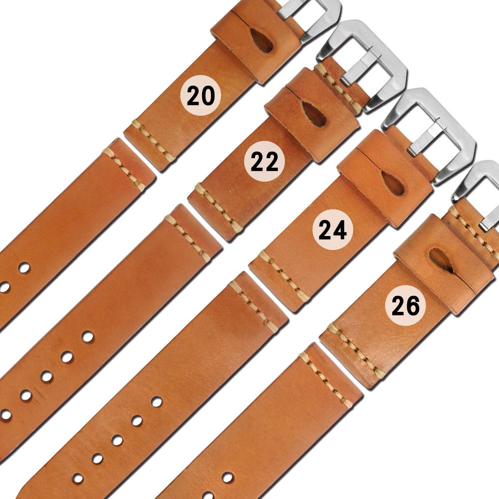 Watchband / 經典復刻加厚柔軟萬用牛皮錶帶-駝色