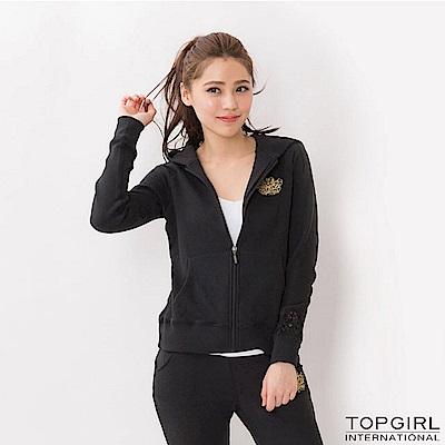 【TOP GIRL】蕾絲點綴休閒外套 - 黑色