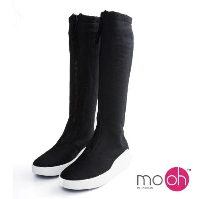 mo.oh彈力拉鏈運動厚底長靴-黑色