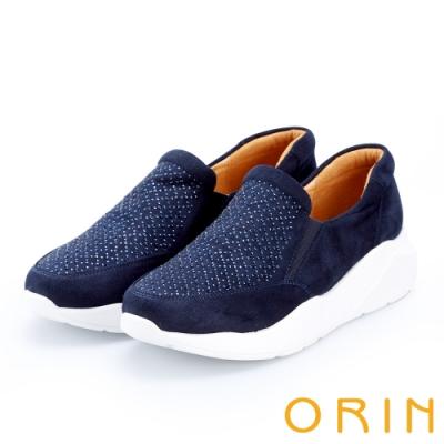 ORIN 時尚渡假風 閃閃燙鑽厚底休閒便鞋-藍色