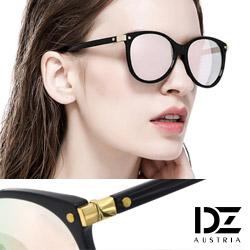 DZ 個性方塊金釘 防曬太陽眼鏡造型墨鏡(黑框幻粉膜)
