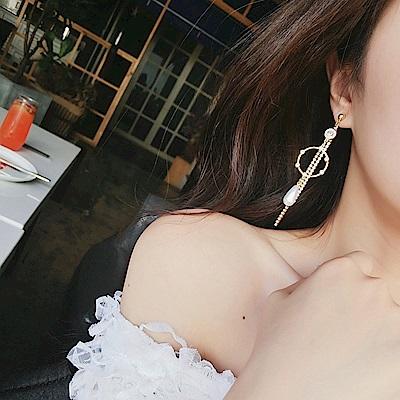 梨花HaNA 無耳洞/耳針款韓國水鑽鏈條宴會華麗耳環