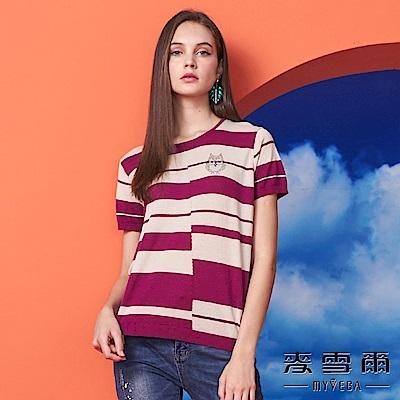 【麥雪爾】純棉水鑽貓頭鷹條紋針織杉-深玫紅