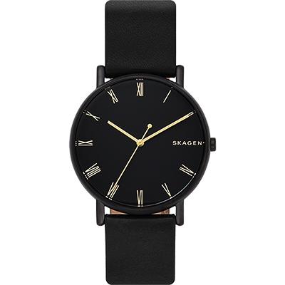 Skagen Signatur 羅馬字中性手錶-黑/40mm