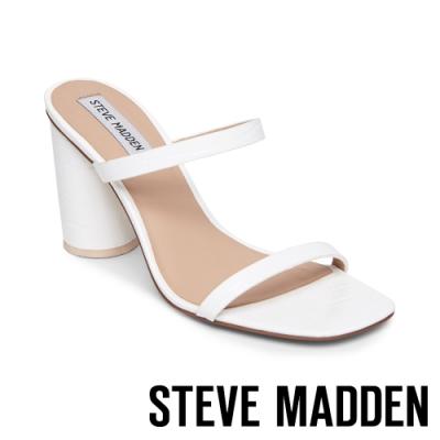 STEVE MADDEN-KATO 特色圓柱壓紋粗高跟拖鞋-白色