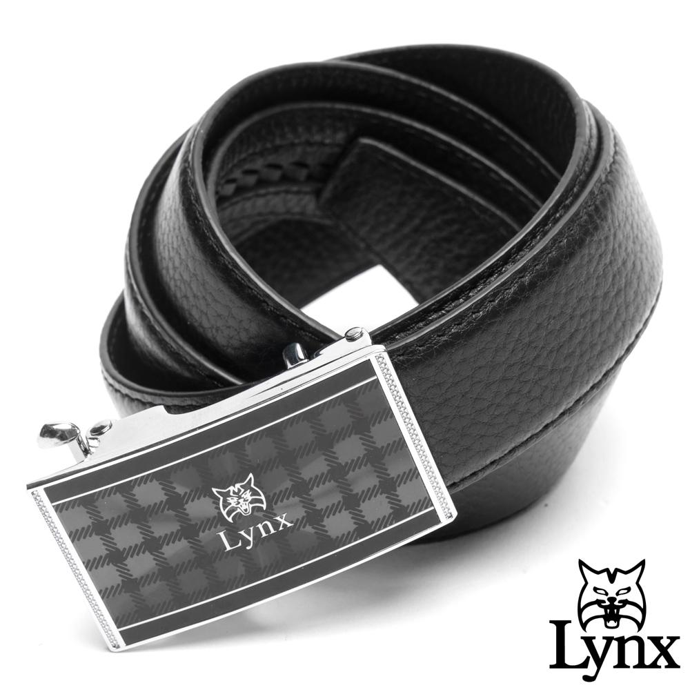 Lynx - 美國山貓雅爵格紋真皮自動扣皮帶