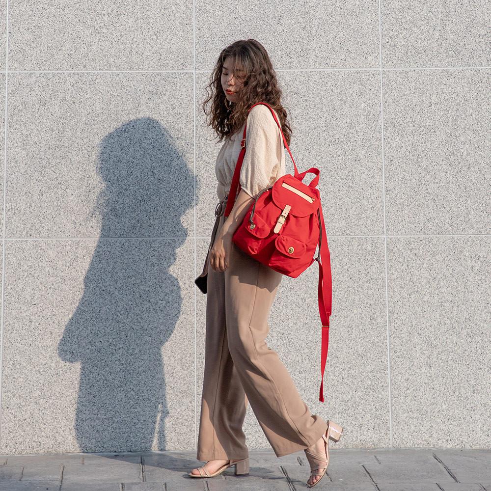 satana - 小休閒束口後背包 - 紅色