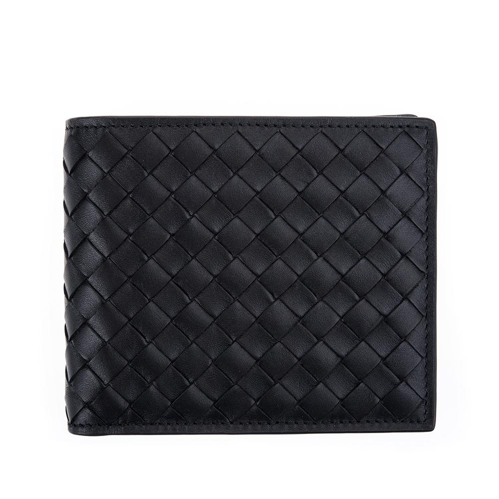BOTTEGA VENETA 經典編織牛皮八卡對折男短夾 (黑色)