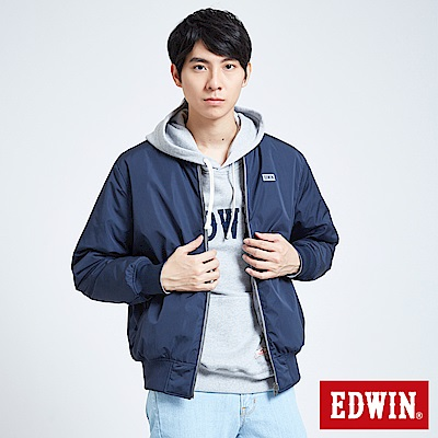 EDWIN 潮流機能 雙面穿反光舖棉外套-男-丈青