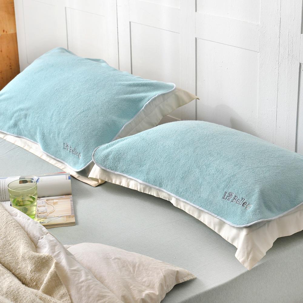 義大利La Belle 經典刺繡 舒柔枕巾2入-典雅綠