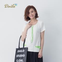 【DAILO】恐龍爪口袋棉質-上衣(二色)