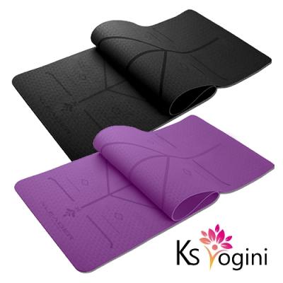 KS yogini 雙面防滑TPE正位線瑜珈墊6mm 贈收納繩 特
