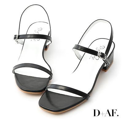 D+AF 氣質女孩.一字細帶方頭低跟涼鞋*黑