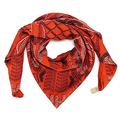 HERMES  經典凱利包圖騰真絲披肩方型大絲巾圍巾-橘色