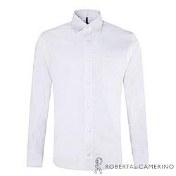 ROBERTA諾貝達 台灣製 合身版 純棉商務紳士長袖襯衫 白色