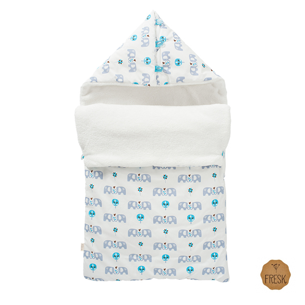 荷蘭 FRESK 嬰幼兒有機棉保暖睡袋 (藍色小象)